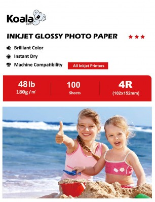 Koala Photo Paper High Glossy 4x6 Inches 100 Sheets 180gsm Compatible with Inkjet Printer