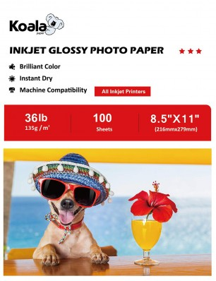 Koala Inkjet Glossy Photo Paper 8.5x11 Inch 135gsm 100 Sheets Used For All Inkjet Printers