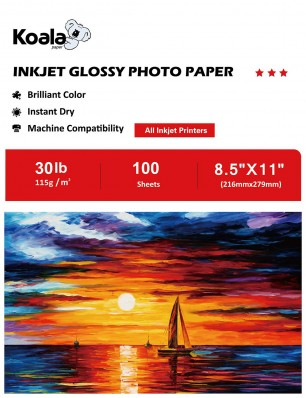 Koala Inkjet Glossy Photo Paper 8.5x11 Inch 115gsm 100 Sheets Used For All Inkjet Printers