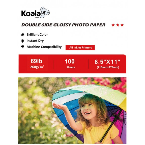 Koala Double Sided High Glossy Photo Paper 8.5x11 Inches 100 Sheets 260gsm only Compatible with Inkjet Printer