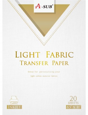 A-SUB Light Fabric Transfer Paper 8.5''x11'' Compatible with Inkjet Printer 20 Sheets