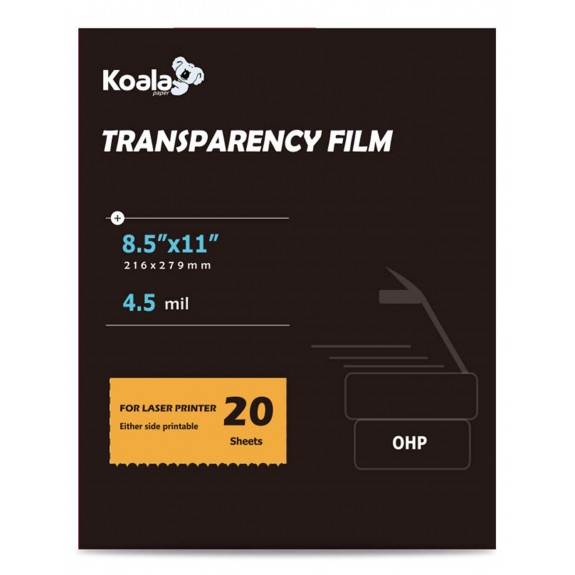 Koala 8.5x11 Inches OHP Transparency Printing Film for Laser Printer