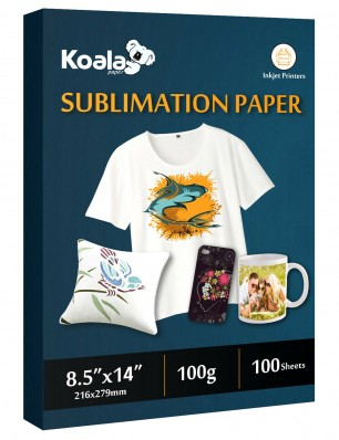 KOALA Sublimation Transfer Paper 8.5x14 Inch 100 Sheets 123gsm for Inkjet Printer