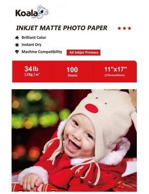 Koala Inkjet Matte Photo Paper 11x17 Inch 128gsm 100 Sheets Used For Inkjet Printer