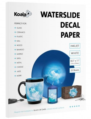 Koala Watersilde Decal Transfer Paper 25 Sheets White 8.5x11 Inches Printable for Inkjet Printer