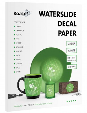 Koala Watersilde Decal Transfer Paper 25 Sheets White 8.5x11 Inches Printable for Laser Printer