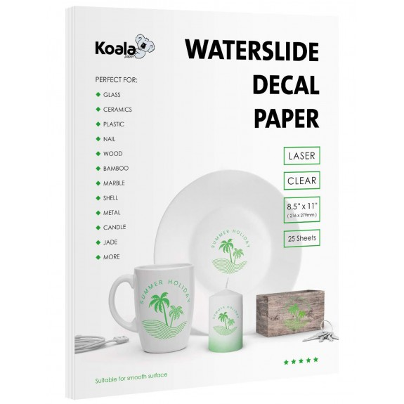 Koala Watersilde Decal Transfer Paper 25 Sheets Clear 8.5x11 Inches Printable for Laser Printer
