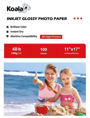 Koala Glossy Photo Paper 180gsm 11x17 Inches 100 Sheets Compatible with All Inkjet Printer