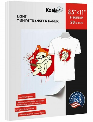 Koala Light T Shirt Transfer Paper 8.5x11 inch Compatible with All Inkjet Printer 28 Sheets