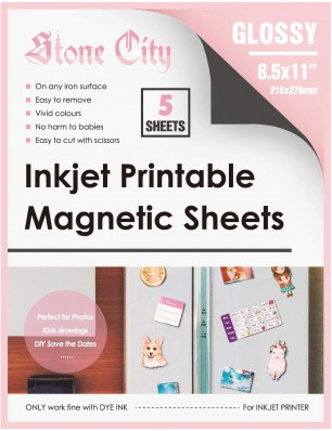 Stone City Magnetic Sheets Printable Glossy Paper 12mil Thick for Inkjet Printers 8.5x 11 Inches