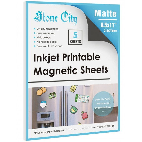Stone City Magnetic Sheets Printable Matte Paper 12mil Thick for Inkjet Printers 8.5x 11 Inches