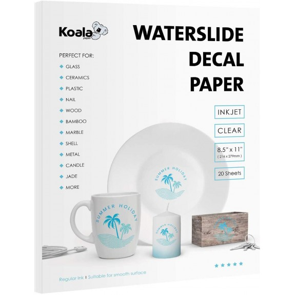 Koala Waterslide Decal Transfer Paper Clear 8.5x11 Inches Transparent Printable 20 Sheets for Inkjet Printer