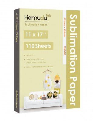 Hemudu Sublimation Transfer Paper 11'' x 17'' 126gsm 110 Sheets for any Inkjet Printer