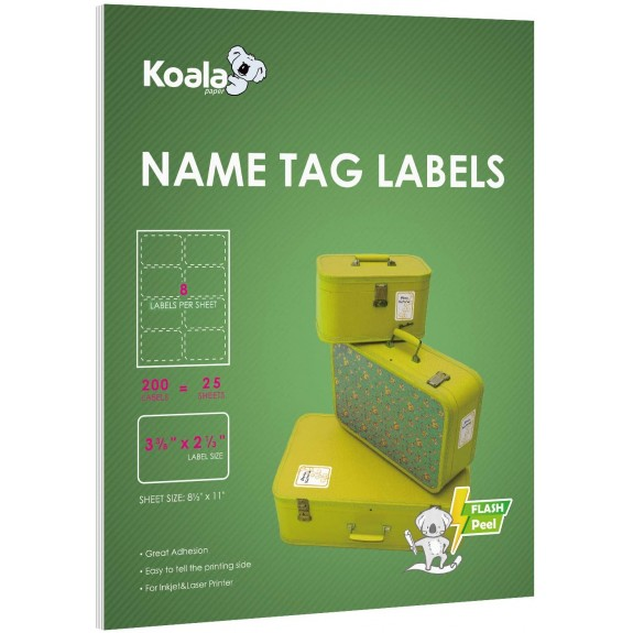Koala Printable Name Tag Label Stickers 3 3/8 x 2 1/3 Inch 8 per Sheet 200 Labels for Laser and Inkjet Printers