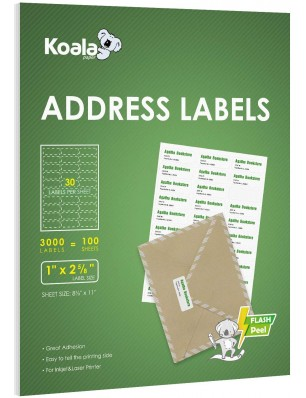 Koala 30-UP Shipping Labels  1x2-5/8 Inch 100 Sheets 3000 Labels for Laser & Inkjet Printers