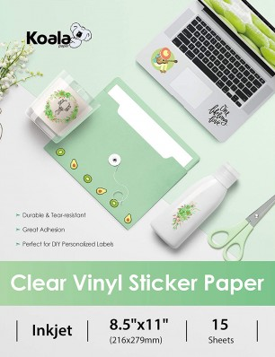 Koala Waterproof  Printable Clear Sticker Paper for Inkjet Printers 8.5x11 in 15 Sheets