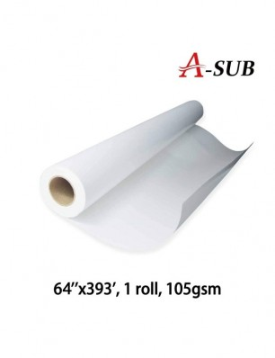 "A-SUB Sublimation Paper 64""x393', 105gsm, roll size"