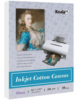 Koala 8.5x11 Glossy Inkjet Printable Canvas 240g Waterproof Printer Photo Paper 10 sheets