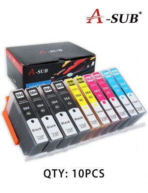 A-SUB Compatible Ink Cartridge Replacement for HP 564 564XL(Total 10 Pack:4 Black, 2 Cyan, 2 Magenta, 2 Yellow)