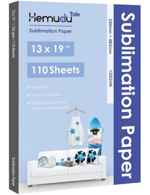 Hemudu Sublimation Transfer Paper 13'' x 19'' 122gsm 110 Sheets for any Inkjet Printer