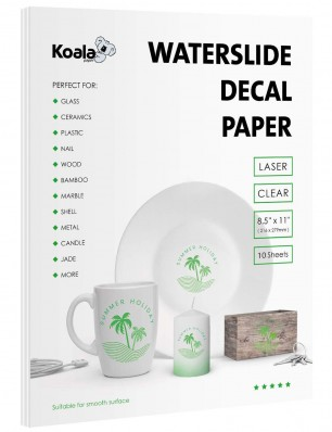 Koala Watersilde Decal Transfer Paper Clear 8.5x11 Inches Printable for Laser Printer