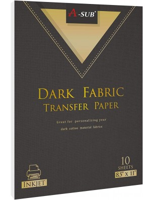 A-SUB Dark Fabric Transfer Paper 8.5''x11'' Compatible with Inkjet Printer 20 Sheets