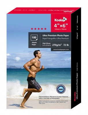 Koala Advanced High Glossy Photo Paper 4x6 inch 100 Sheets used for All Inkjet Printer