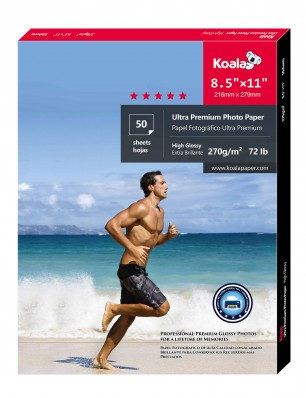 KOALA Photo Paper 8.5X11 inch 50 Sheets With Premium High Glossy Advanced Resin Coated For Canon Hp Epson Inkjet Printer