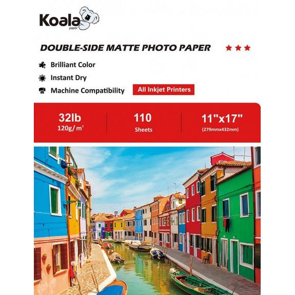 KoalaInkjet Double Sided MattePhotoPaper 11x17 Inch 120gsm 110 Sheets Used For All Inkjet Printers
