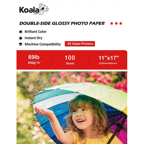 Koala Double Side Glossy Photo Paper 11x17 Inch 260gsm 100 Sheets Used For All Inkjet Printers