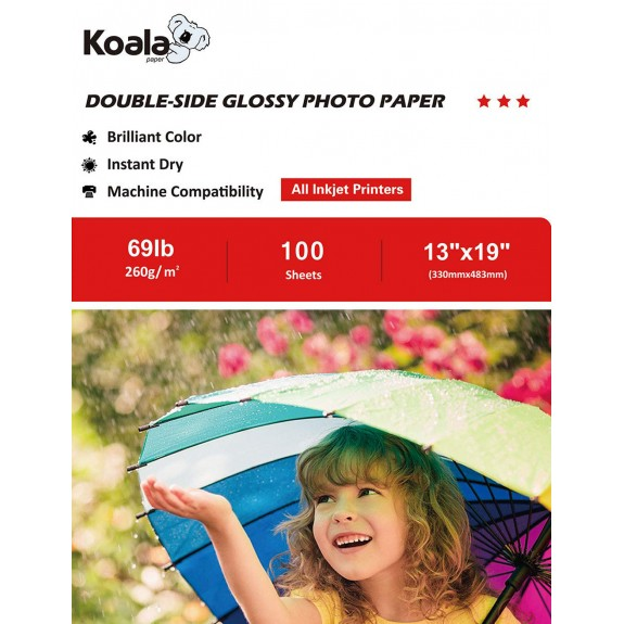 Koala Heavyweight Double Side Glossy Photo Paper 13x19 Inch 260gsm 100 Sheets Used For  Inkjet Printers
