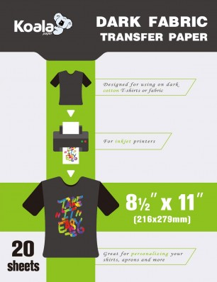 Koala Premier Digital Dark T Shirt Transfer Paper 8.5x11 inch Compatible with All Inkjet Printer